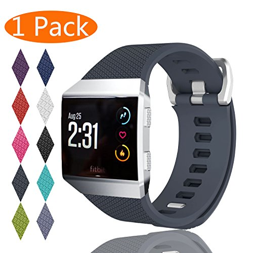Fitbit Ionic Bands, KingAcc Soft Accessory Replacement Band for Fitbit Ionic, With Metal Buckle Fitness Wristband Strap Women Men Large Small Black, White, Rose, Gray, Blue, Red, Purple, Green