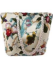VWH Vintage Embroidery Handbag Beach Bag Floral Bird Printed Canvas Shoulder Bag for Lady Single Shoulder Bag Shopping Totes