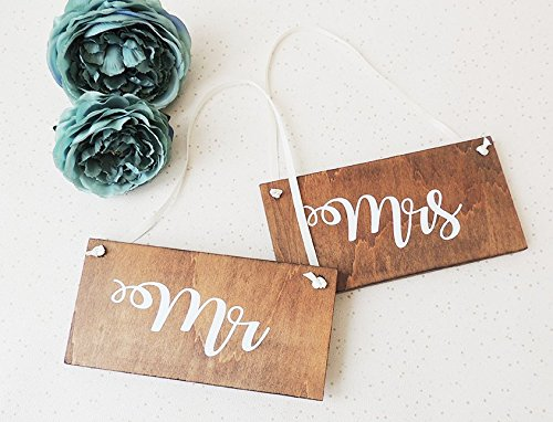 Mr and Mrs signs, rustic wedding signs, chair signs, hanging ...