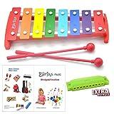 Kids Xylophone 8 Tone Tuned – German Creative Glockenspiel with Multi-Colored Metal Replaceable Keys