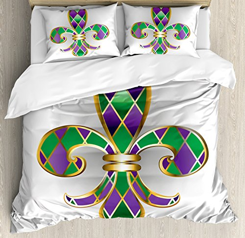 Ambesonne Fleur De Lis Duvet Cover Set, Golden Yellow Colored Lily with Diamond Shapes Royalty Theme, Decorative 3 Piece Bedding Set with 2 Pillow Shams, King Size, Purple Green