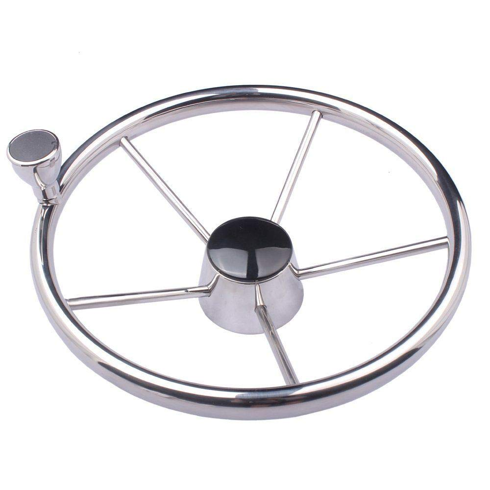 Hoffen 5-Spoke 13-1/2 Inch Destroyer Style Stainless Steel Boat Steering Wheel with Knob Amarine-Made by Hoffen
