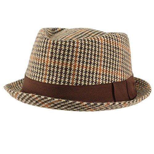 SK Hat shop Men's Winter Houndstooth Porkpie Derby Fedora Curled Brim Hat Brown S/M (Plaid Pork Pie Hat)