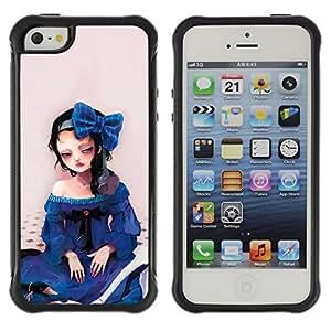Pulsar Defender Series Tpu silicona Carcasa Funda Case para Apple iPhone 5 / iPhone 5S , Cute Sad Girl