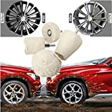 FOLCONROAD 4Pcs White Flannelette Polishing Pad Kit T-Shaped Wheel Grinding Head Auto Handle Waxed Cotton Buffing Wheel Polisher Tools