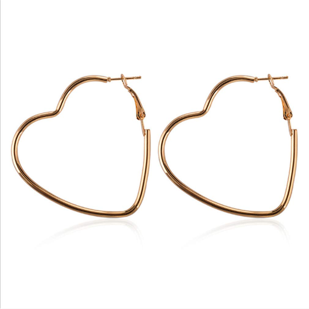 Iumer Minimalist Women Alloy Heart Shape Big Circle Hoop Earring Party Jewelry Gift,Gold