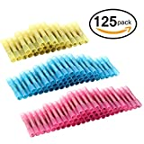 125pcs Heat Shrink Butt Connectors, Sopoby Electrical Crimp Wire Connector Set, Waterproof Marine Automotive Assorted Wire Terminal Kit, 22-10GA (50Red 50Blue 25Yellow)