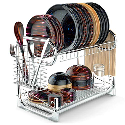 Dish Drying Rack, Packism Upgraded 2 Tier Dish Rack with Dra