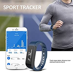 Activity Tracker, Toprime Fitness Tracker Waterproof Bracelet OLED Touch Screen Smart Watch Band with Sleep Monitor, Pedometer Wristband for Andriod and iOS (Blue) by Toprime