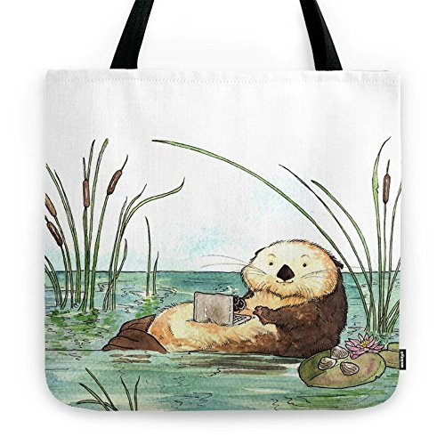 """Society6 Otter On A Laptop Tote Bag 18"""" x 18"""""""