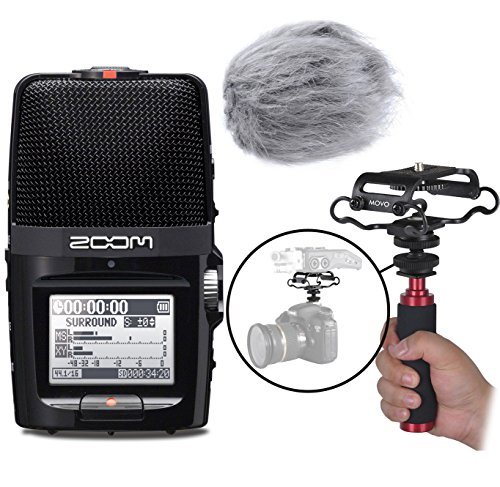 Zoom H2n Handy Portable Digital Audio Recorder Kit with Deadcat Windscreen, Shockmount, Camera Mount and Mic Grip by Movo