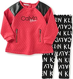 Calvin Klein Baby Pucker Knit Tunic with Leggings Set, Red, 24 Months
