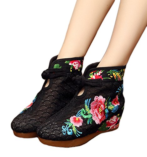 Chinese Mesh Sandals (AvaCostume Womens Elegance Lace Breathable Mesh Platform Wedge Sandals Summer Boots Black 41)
