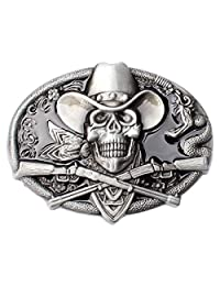 Vintage Pirate Skull Belt Buckle Western Cowboy Native American Motorcyclist (SK-17)