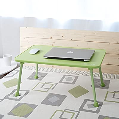Large Bed Tray NNEWVANTE Laptop Desk Lap Desk Foldable Portable Standing Outdoor Camping Table, Breakfast Reading Tray Holder for Couch Floor Students Young Color(Blue/ Green/ Pink)