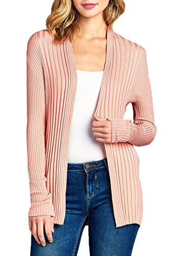 JNTOP Women's Ribbed Knit Open Front Cardigan Pink Medium - Floral Ribbed Cardigan