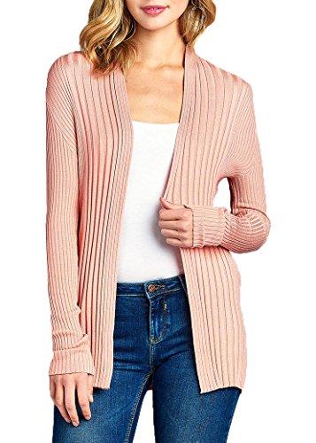JNTOP Women's Ribbed Knit Open Front Cardigan Pink Medium - Floral Ribbed Cardigan