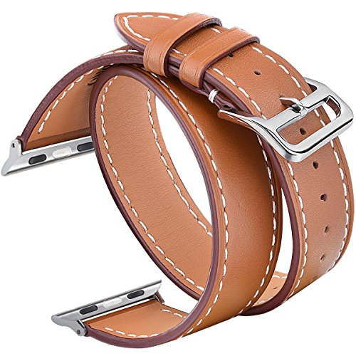Apple Wrap (V-Moro 42mm Double Tour Leather Band with Metal Clasp for Apple iWatch - Brown)