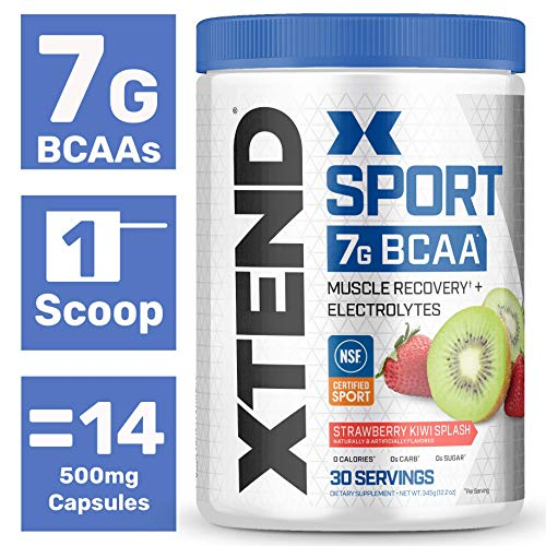 Scivation Xtend Hydrasport BCAA Powder, Branched Chain Amino Acids, BCAAs, Zero Sugar Electrolyte Drink Powder + Hydration, Strawberry Kiwi, 30 Servings