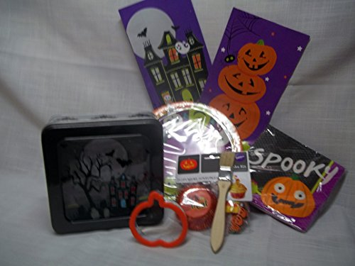 Halloween Cookie & Party Supplies-Cookie Tin-Cookie Cutter-Paper Party Plates, Napkins-Wilton Cupcake Papers w/Picks-Bake Best Sugar Cookies-Frosting Glaze Recipe