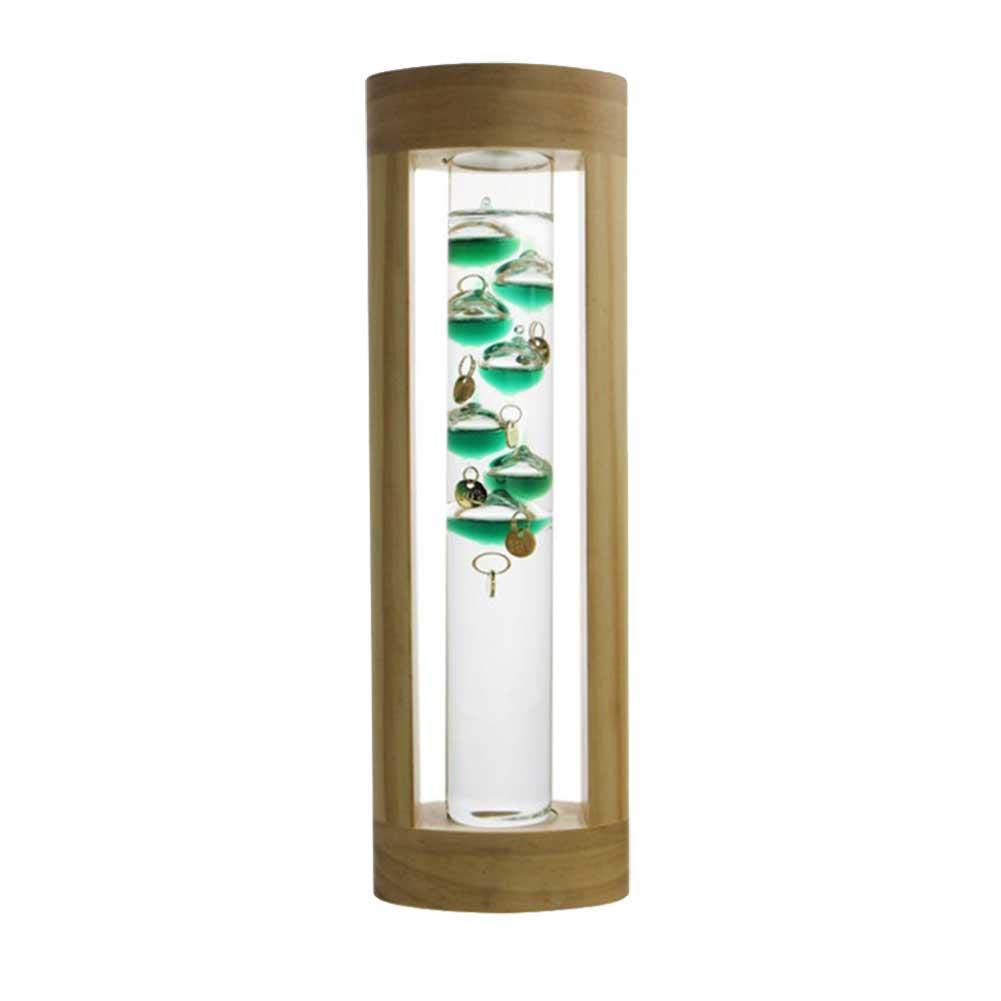 Galileo Thermometer Indoor Glass Barometer Wind & Weather Station with Wood Frame Desk or Tabletop Decor Valentine's Day Gift cheerfullus