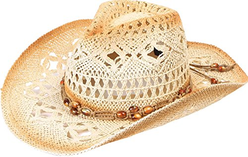 Simplicity Men / Women's Summer Woven Straw Cowboy Hat, 2826_Brown
