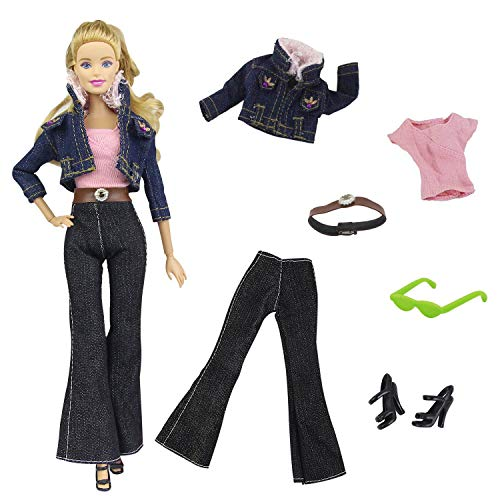 (ZITA ELEMENT 6 in 1 Fashion Clothes and Accessories for 11.5 Inch Girl Doll Outfits | Shoes, Coat, Jeans, Belt, Vest, and Glasses)