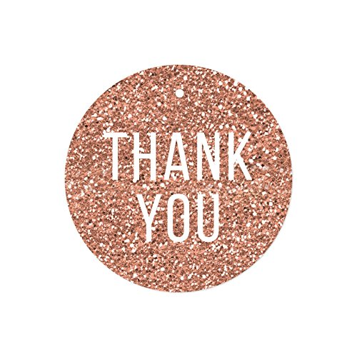 Andaz Press Round Circle Gift Tags, Faux Rose Gold Glitter Modern Style, Thank You, 24-Pack, Colored Party Favors and ()