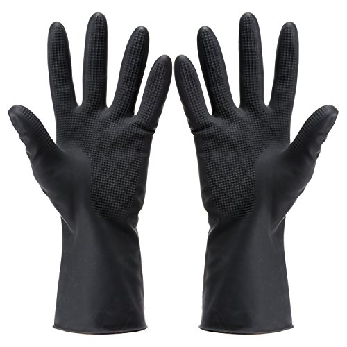 Dye Glove (Hair Dye Gloves Black Reusable Salon Hair Color Latex Gloves Large Thick Rubber Gloves for Cleaning Cooking Dishwashing 5 Pair)