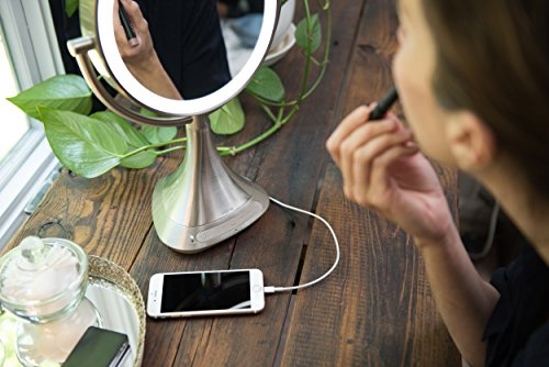 """51Gk7VI9YQL - iHome All-In-One, 7X MAGNIFY, 9"""" 2-Sided LED Makeup Mirror, Bright LED Light Up Mirror, Natural Light, Double-sided Vanity Mirror, Hands-Free Bluetooth Speakerphone, Bluetooth Audio & Phone Charger"""