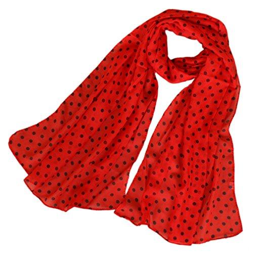 LMVERNA women polka dot scarfs red chiffon silk scarves long lightweight spring wrap shawls ()