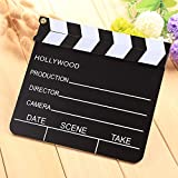 Cewaal Wooden Film Movie Clapboard Dry Erase Director Slate with Magnetise Sticks Theater Party Decoration