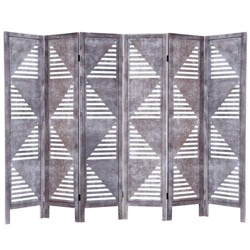 Moon_Daughter 6 Panel Room Divider Wood Folding Bathroom Freestanding Partition Privacy Screen Gray 67