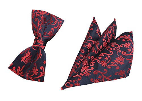Men Navy Blue Red Silk Floral Bow Tie Set Pocket Square Set for Party Fancy - Blue Rose Handkerchief