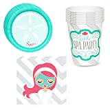 Little Spa Party Supplies Pack Including Plates, Cups and Napkins - 8 Guests
