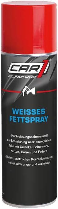 CAR1 Spray de Grasa Blanco, lubricante de Alto Rendimiento, protección contra la corrosión, bisagras, articulaciones, Pernos, Cadenas, Plumas, 300 ml