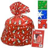 "2 Giant Christmas Gift Bag 36x44"" W/tie & Gift Card Set of 2"
