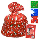 "2 Giant Christmas Gift Bag 36x44"" W/tie & Gift Card Set of 2"