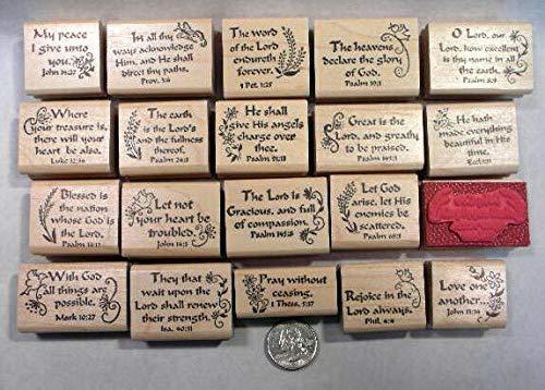 20 Scripture Stamps, Wood Mounted, Set #2