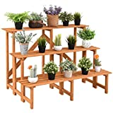 Wood Plant Stand Flower Pot Holder Display Rack Shelves Step Ladder 3 Tier
