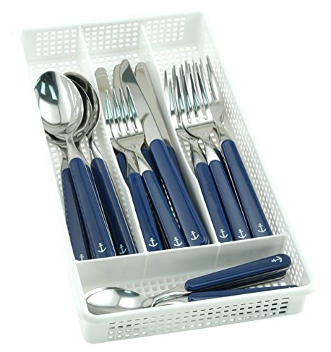 Galleyware Blue 40 Piece Anchor Flatware, Set Plus Storage Tray (Service For 8)