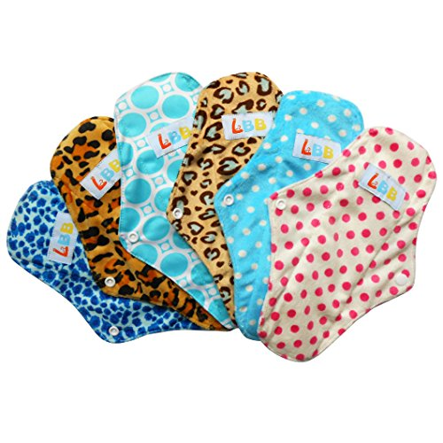 lbbtm-rusable-washable-bamboo-mama-cloth-menstrual-pads-sanitary-pads-panty-liners-10-inch6pcs-pack