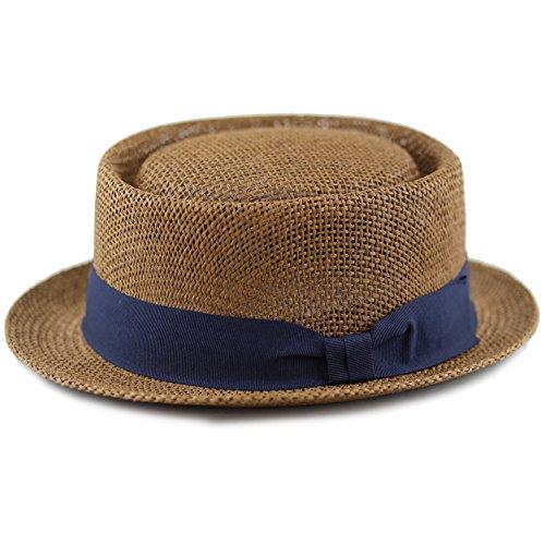 The Hat Depot Unisex Summer Paper Straw Short Brim Porkpie (S/M, Brown)