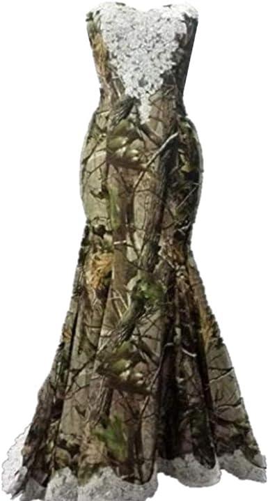 Formaldresses Camo Mermaid Wedding Dress Camouflage Ivory Lace Vintage  Country Wedding Free Veil