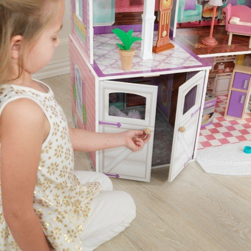 KidKraft Country Estate Deluxe Wooden 4' Tall Dollhouse w/ 30 Furniture Pieces