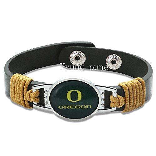 New Premium Leather Oregon Ducks Football Unisex Men's Womens Bracelet ()
