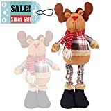 great traditional home office decorating ideas Christmas Standing Plush Figure Toy Reindeer Moose Stuffed Classic Plaid Decoration Ornament Adorable Stretchable Cute Holiday Week Christmas Day Gift for Home Office Room Show Window