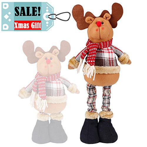 (Christmas Standing Plush Figure Toy Reindeer Moose Stuffed Classic Plaid Decoration Ornament Adorable Stretchable Cute Holiday Week Christmas Day Gift for Home Office Room Show Window)