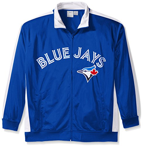 MLB Toronto Blue Jays Men's Tricot Poly Track Jacket, 2X Tall, Royal/White (Toronto Pocket Jays Blue)