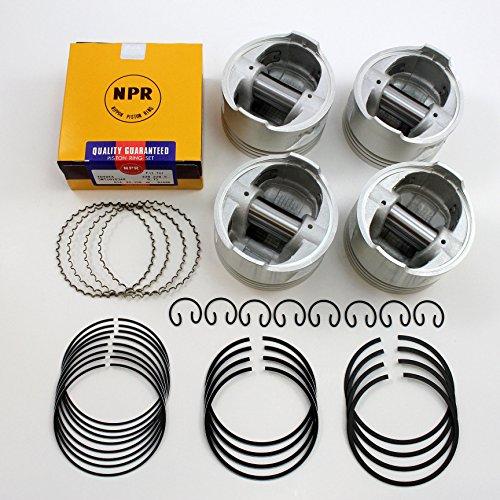 Pickup Piston Ring Set (Premium Quality Pistons + Rings Set 1985-1995 2.4L Toyota Pickup 4Runner Celica 22R (Standard))